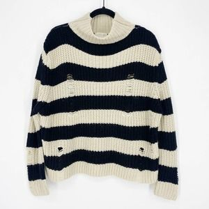RD STYLE Striped Destructed Swing Sweater Sz Small